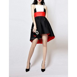 Cocktail Party Dress - Black Plus Sizes / Petite A-line High Neck Asymmetrical Taffeta