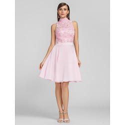 Cocktail Party Prom Dress Blushing Pink Plus Sizes Petite A Line High Neck Knee Length Chiffon Lace