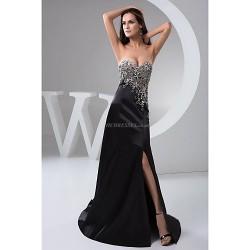 Formal Evening Dress Black Petite A Line Sweetheart Floor Length Chiffon