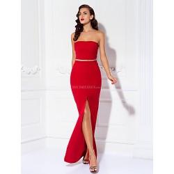 Prom Military Ball Formal Evening Dress Ruby Plus Sizes Petite Sheath Column Strapless Floor Length Jersey