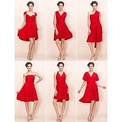 Mix&Match Convertible Dress Knee Length Sheath Column Jersey Cocktail Dress