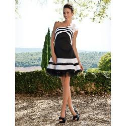 Cocktail Party Sweet 16 Dress Black Plus Sizes Petite A Line One Shoulder Short Mini Satin