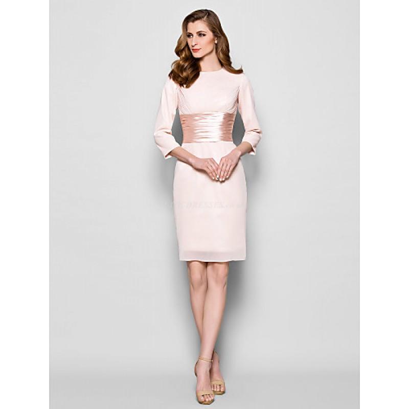 b6dfb4c589c Sheath Column Plus Sizes   Petite Mother of the Bride Dress - Pearl Pink  Knee