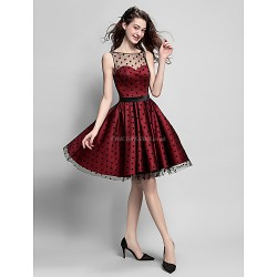 Cocktail Party Dress Burgundy Plus Sizes Petite A Line Jewel Knee Length Satin Tulle