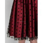 TS Couture Cocktail Party Dress - Burgundy Plus Sizes / Petite A-line Jewel Knee-length Satin / Tulle Special Occasion Dresses