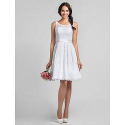 Knee Length Lace Bridesmaid Dress White Plus Sizes Petite A Line Scoop