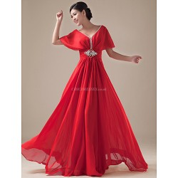 Formal Evening Dress Daffodil Ruby Royal Blue Regency Plus Sizes A Line V Neck Floor Length Chiffon