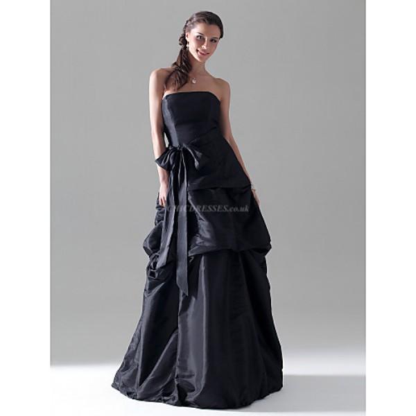Floor-length Taffeta Bridesmaid Dress - Black Plus Sizes / Petite A-line / Princess Strapless Special Occasion Dresses