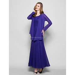 A Line Plus Sizes Petite Mother Of The Bride Dress Regency Ankle Length Long Sleeve Chiffon