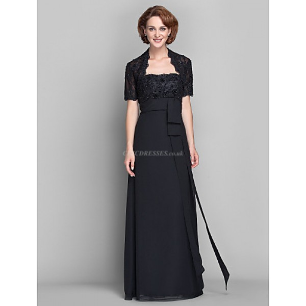 Sheath/Column Plus Sizes / Petite Mother of the Bride Dress - Black Floor-length Short Sleeve Chiffon / Lace Mother Of The Bride Dresses