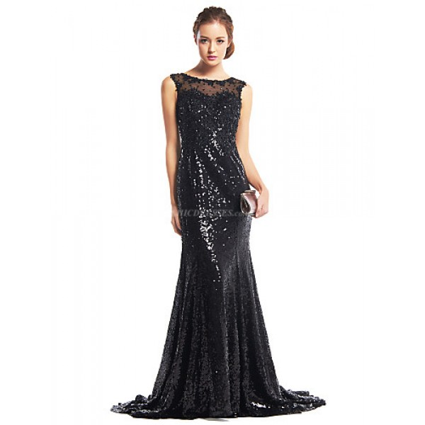 TS Couture Formal Evening Dress - Black Trumpet/Mermaid Scoop Sweep/Brush Train Sequined Special Occasion Dresses