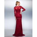 TS Couture Formal Evening Dress - Burgundy Plus Sizes / Petite Trumpet/Mermaid Jewel Sweep/Brush Train Lace Special Occasion Dresses