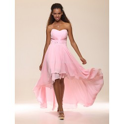 Prom / Formal Evening Dress - Blushing Pink Plus Sizes / Petite A-line / Princess Strapless / Sweetheart Floor-length / Asymmetrical