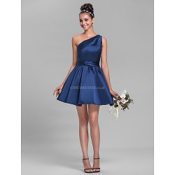 Short Mini Satin Bridesmaid Dress Dark Navy Plus Sizes Petite A Line One Shoulder