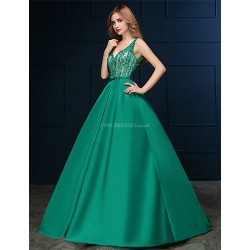 Formal Evening Dress Clover A Line V Neck Sweep Brush Train Satin