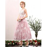 Cocktail Party Dress - Blushing Pink / Pool A-line Jewel Tea-length Lace / Tulle Special Occasion Dresses