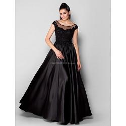 Formal Evening Dress - Black Plus Sizes / Petite A-line / Princess Scoop Floor-length Stretch Satin