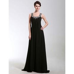 Formal Evening Military Ball Dress Black Plus Sizes Petite Sheath Column Scoop Floor Length Chiffon