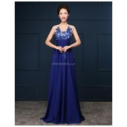 Formal Evening Dress - Royal Blue Plus Sizes A-line Scoop Floor-length Tulle/Georgette