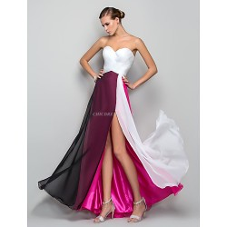 Formal Evening / Military Ball Dress - Multi-color Plus Sizes / Petite A-line / Princess Sweetheart Floor-length Chiffon