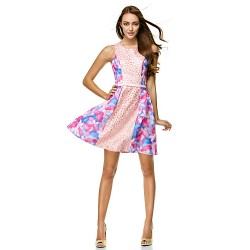 Cocktail Party Dress Print A Line Scoop Short Mini Chiffon Polyester