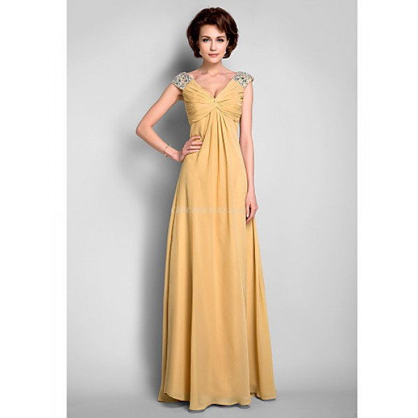 A-line Plus Sizes / Petite Mother of the Bride Dress - Gold Floor-length Sleeveless Chiffon Mother Of The Bride Dresses