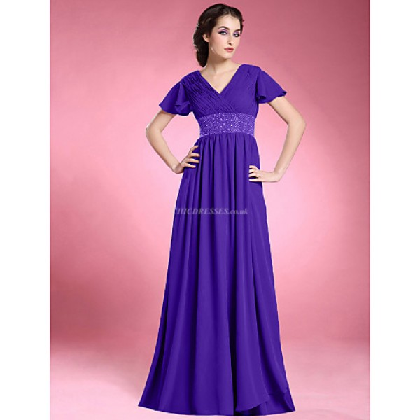 A-line Plus Sizes / Petite Mother of the Bride Dress - Regency Floor-length Short Sleeve Chiffon Mother Of The Bride Dresses