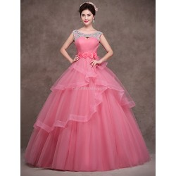 Formal Evening Dress Pearl Pink Petite Ball Gown Scoop Floor Length Satin Tulle Polyester