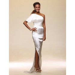 Formal Evening Dress - Ivory Plus Sizes / Petite Sheath/Column One Shoulder Floor-length Stretch Satin