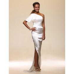 Formal Evening Dress Ivory Plus Sizes Petite Sheath Column One Shoulder Floor Length Stretch Satin