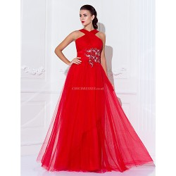 Formal Evening Military Ball Dress Ruby Plus Sizes Petite Sheath Column High Neck Floor Length Tulle