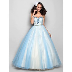 Prom / Formal Evening Dress - Sky Blue Plus Sizes / Petite A-line Sweetheart Floor-length Tulle