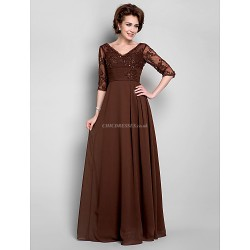 A-line Plus Sizes / Petite Mother of the Bride Dress - Chocolate Floor-length Half Sleeve Chiffon / Lace