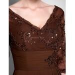 A-line Plus Sizes / Petite Mother of the Bride Dress - Chocolate Floor-length Half Sleeve Chiffon / Lace Mother Of The Bride Dresses