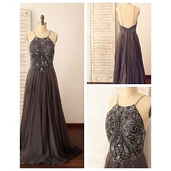 Formal Evening Dress Silver A Line Spaghetti Straps Sweep Brush Train Chiffon
