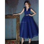 Dress - Dark Navy Ball Gown V-neck Tea-length Spandex Special Occasion Dresses