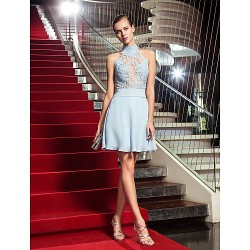 Cocktail Party Holiday Dress Sky Blue Plus Sizes Petite A Line High Neck Short Mini Chiffon Tulle