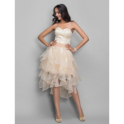 Cocktail Party Holiday Dress Champagne Plus Sizes Petite A Line Princess Sweetheart AsymmetricalOrganza Stretch