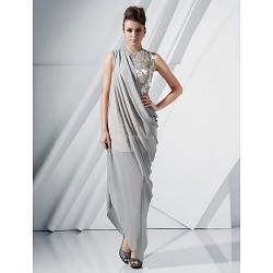 Formal Evening Dress - Silver Plus Sizes / Petite Sheath/Column Jewel Floor-length / Asymmetrical Chiffon / Satin