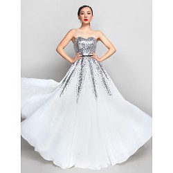 Formal Evening / Prom / Military Ball Dress - Ivory Plus Sizes / Petite A-line Sweetheart Floor-length Chiffon / Sequined