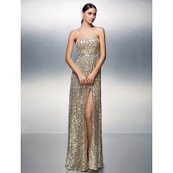 Prom Formal Evening Dress Champagne Sheath Column Strapless Floor Length Sequined