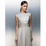 TS Couture Sheath/Column Mother of the Bride Dress - Silver Floor-length Sleeveless Chiffon Mother Of The Bride Dresses