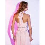 TS Couture Cocktail Party / Holiday Dress - Pearl Pink Plus Sizes / Petite A-line Halter Short/Mini Chiffon Special Occasion Dresses