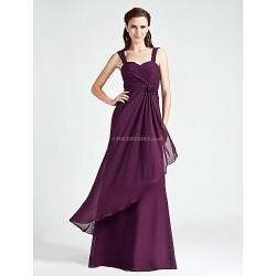 Floor-length Chiffon Bridesmaid Dress - Ruby / Grape / Royal Blue / Champagne Plus Sizes / Petite A-line / Princess Straps / Sweetheart