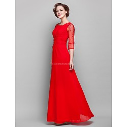Sheath/Column Plus Sizes / Petite Mother of the Bride Dress - Ruby Floor-length 3/4 Length Sleeve Chiffon / Tulle