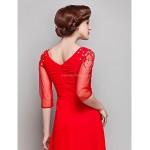 Sheath/Column Plus Sizes / Petite Mother of the Bride Dress - Ruby Floor-length 3/4 Length Sleeve Chiffon / Tulle Mother Of The Bride Dresses