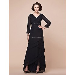 A-line Plus Sizes / Petite Mother of the Bride Dress - Black Asymmetrical 3/4 Length Sleeve Chiffon