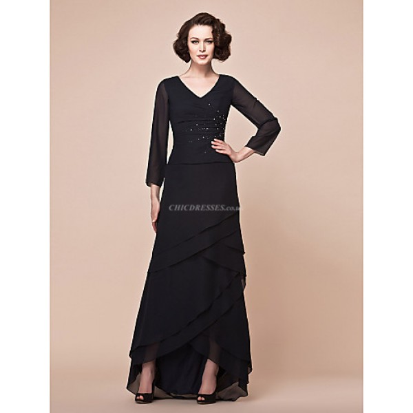 A-line Plus Sizes / Petite Mother of the Bride Dress - Black Asymmetrical 3/4 Length Sleeve Chiffon Mother Of The Bride Dresses