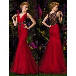 Prom Formal Evening Dress Burgundy Plus Sizes Trumpet Mermaid V Neck Sweep Brush Train Lace