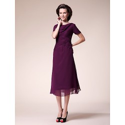 A Line Plus Sizes Petite Mother Of The Bride Dress Grape Tea Length Short Sleeve Chiffon